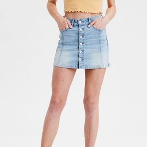 American Eagle High Waisted Button-Up Denim Skirt